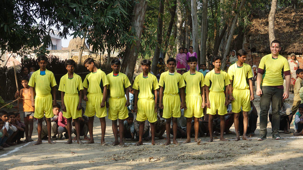 The Indian national anthem is played before the kabaddi match.